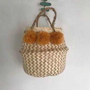 Madewell Straw Pompom Basket Tote Purse